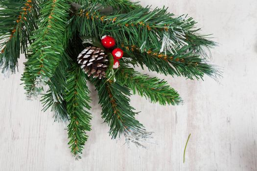 Branch of a christmas tree decoration for seasonal celebrations