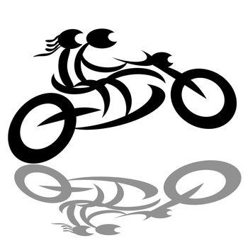 Biker couple on motorcycle