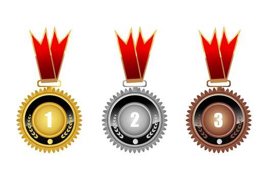 illustration of medals on white background