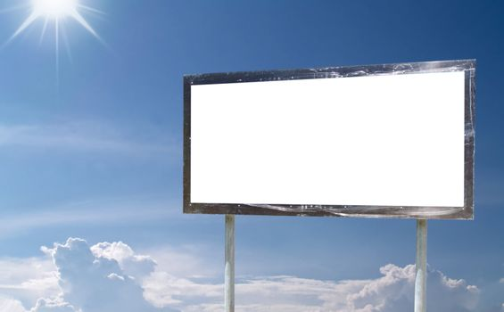 Blank billboard with cloudy sky on background