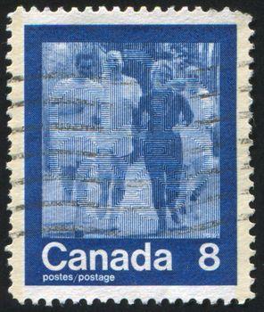 CANADA - CIRCA 1974: stamp printed by Canada, shows runner, circa 1974