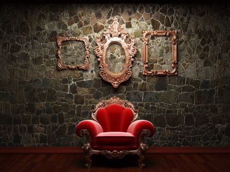 illuminated stone wall and chair made in 3D graphics