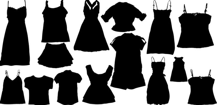 Illustration set of fashion  silhuettes