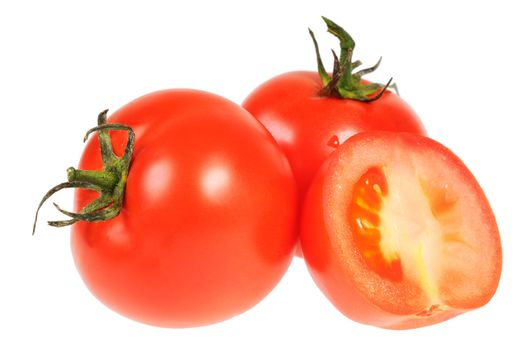 Three tomato. One of them cut. Isolated on white.