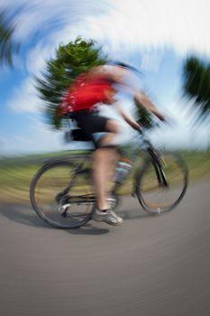 Cycling series: biker cycling outdoors (fisheye lens distortion