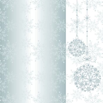 Silver Christmas ornament ball on seamless pattern background