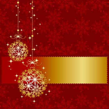Golden Christmas ornament ball on seamless pattern background