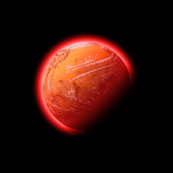 A red hot glowing planet - it works well as Mars or the Sun