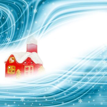 christmas background, cottage and snowflakes with white space