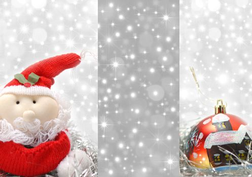 Christmas greeting card, santa composition Christmas ornament and silver background