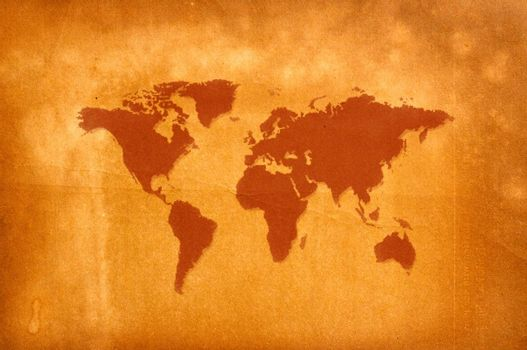world map screen on old vintage recycled paper
