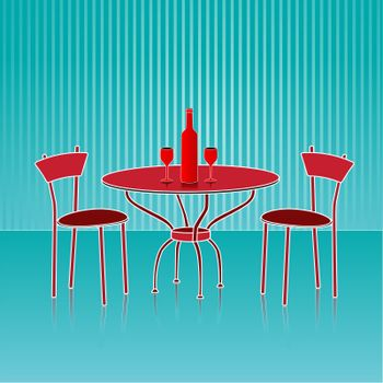 illustration of dinning table set on abstract background