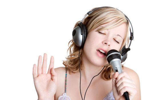 Beautiful blond singing music girl
