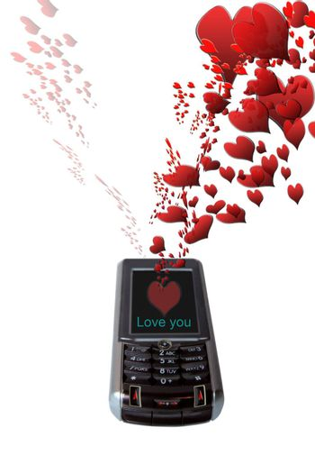 a mobile love message with love hearts signals with clipping path