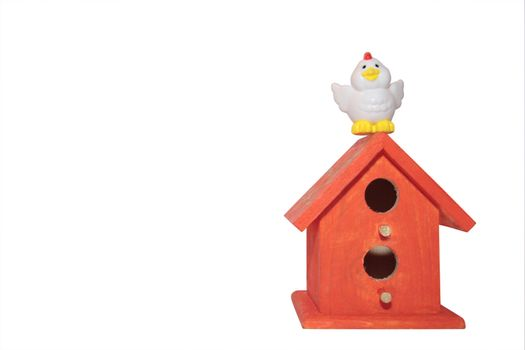 a little chick flying back to his homem with clipping path