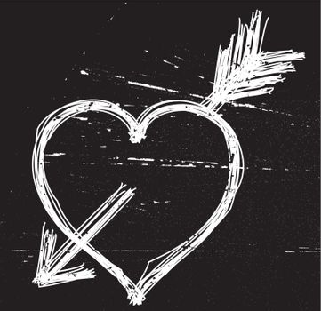 Heart symbol on black grunge background. Vector illustrations.