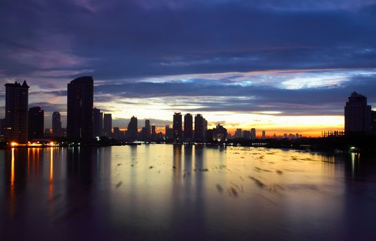 View of Bangkok skyline in the morning, thailand