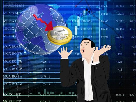 Financial vulnerability of euro causes emotions of a fright in the businessman