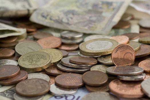 International money background. Selective focus