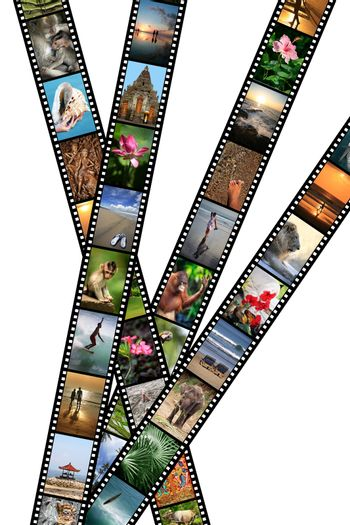 Film strips with travel photos. Indonesia