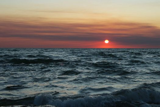 Sunset at the Caspian Sea in August.