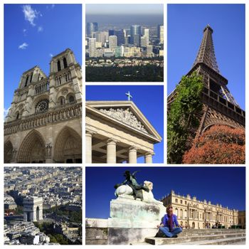 Collage from 6 photos Paris. France
