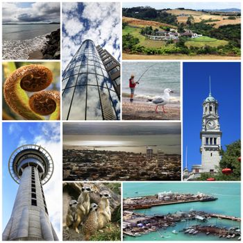 Collage from 6 photos city Auckland. New Zealand
