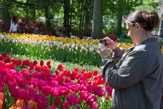 Beautiful girl in s  holland park with tulips