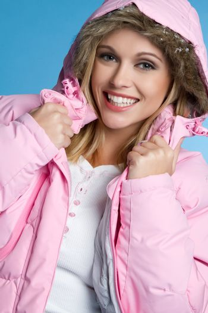 Woman wearing pink winter coat