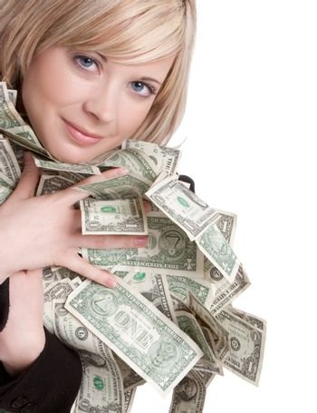 Young smiling woman holding money