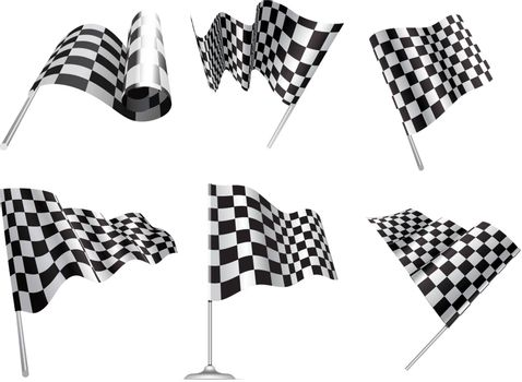 Checkered Flags set illustration on white background.