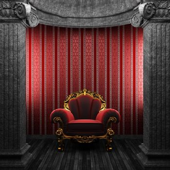 stone columns, chair and wallpaper made in 3D