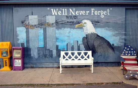 September 11th wall mural with bench and chair