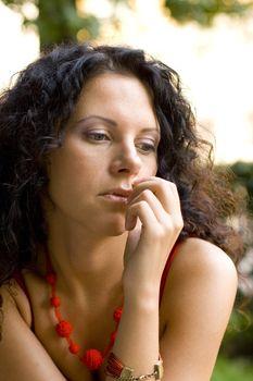 unhappy attractive brunet woman
