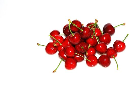 many juicy red cherries from the garden