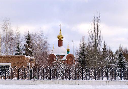 winter landscape with fane Omsk.Russia.
