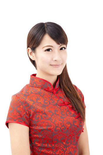 smiling beautiful chinese young woman with tradition clothing