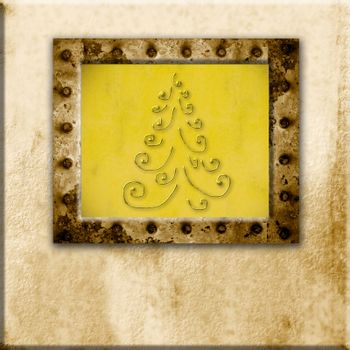 Christmas Cards, Christmas fir old frame