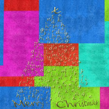 Christmas tree with gold letters of the alphabet on colorful background