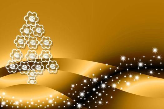 Christmas tree made of flowers on gold background with stars