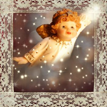 Christmas Card Angel on starry background