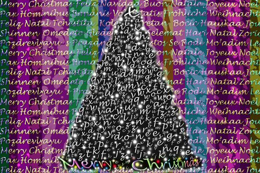 colorful Christmas greeting in several languages ??in gold letters and Christmas tree