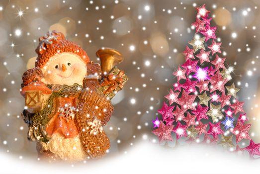 Christmas greeting cards, cute snowman and fir stars