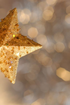 Christmas card, christmas gold star background blur