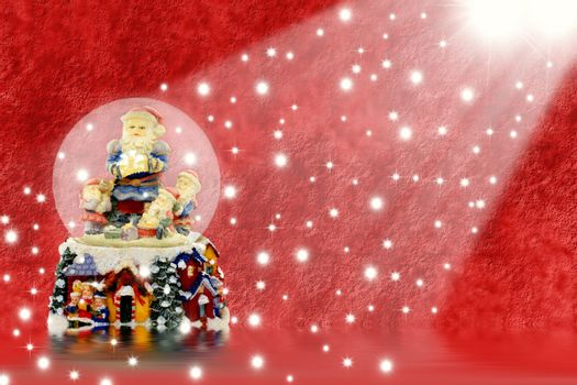 Christmas Cards from water balloon Santa Claus in a red background with stars