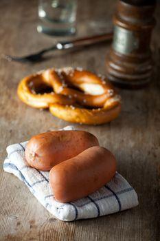two bavarian sausages