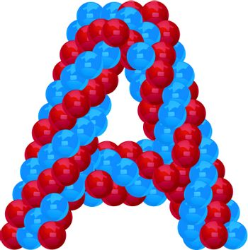 letter A from red and blue balloon illustratiom