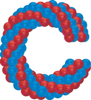 letter C from red and blue balloon illustratiom