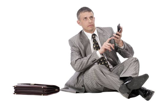 The successful businessman considers financial profit on financial investments