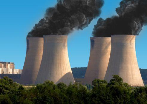 Black smoke pollution from industrial chimneys